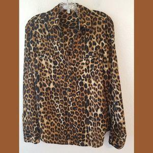 Express Portofino Animal Print Tab Sleeve Shirt Sm